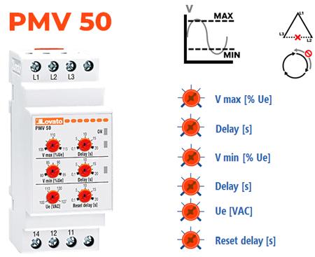 Mín V + Máx V + Falta de fase + Sequência de fases