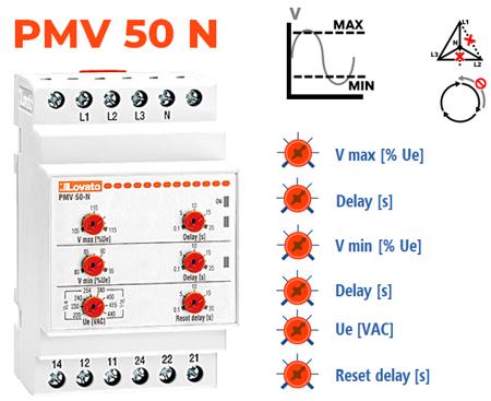 Mín V + Máx V + Falta de fase/neutro + Sequência de fases
